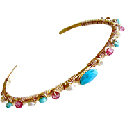 Sleeping Beauty Turquoise Pink Topaz Cultured Seed Pearls Hand Wrapped Cuff Bracelet - Ainsley Stacking Bracelet
