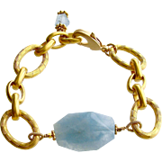 Aquamarine Nugget Heavy Gold Vermeil Links Bracelet - Brynn Bracelet