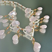 Rose Quartz, Pink Topaz & Cultured Pearl Necklace - The Blushing Bride