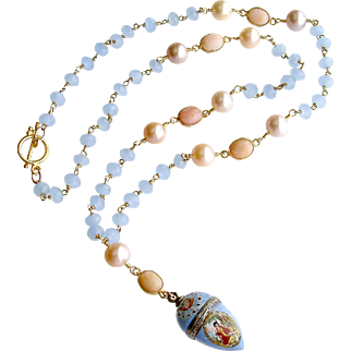 Austro-Hungarian Enamel Egg Vinaigrette Blue Chalcedony Pink Opal Cultured Pearls Necklace - Brezza Dolce IV Necklace