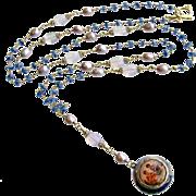 Heirloom Enamel Vinaigrette Locket Necklace Kyanite Scorolite  - Brezza Floreale III Necklace