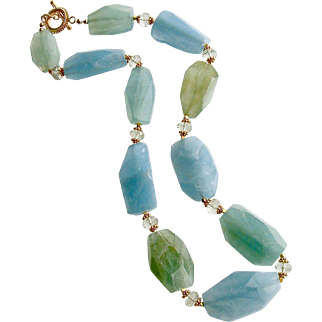 Aquamarine Nuggets Prasiolite Necklace - Brynn III Necklace