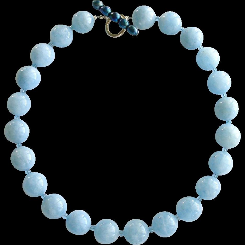Aquamarine Necklace London Blue Topaz Cultured Pearl Clasp - Bevin Necklace