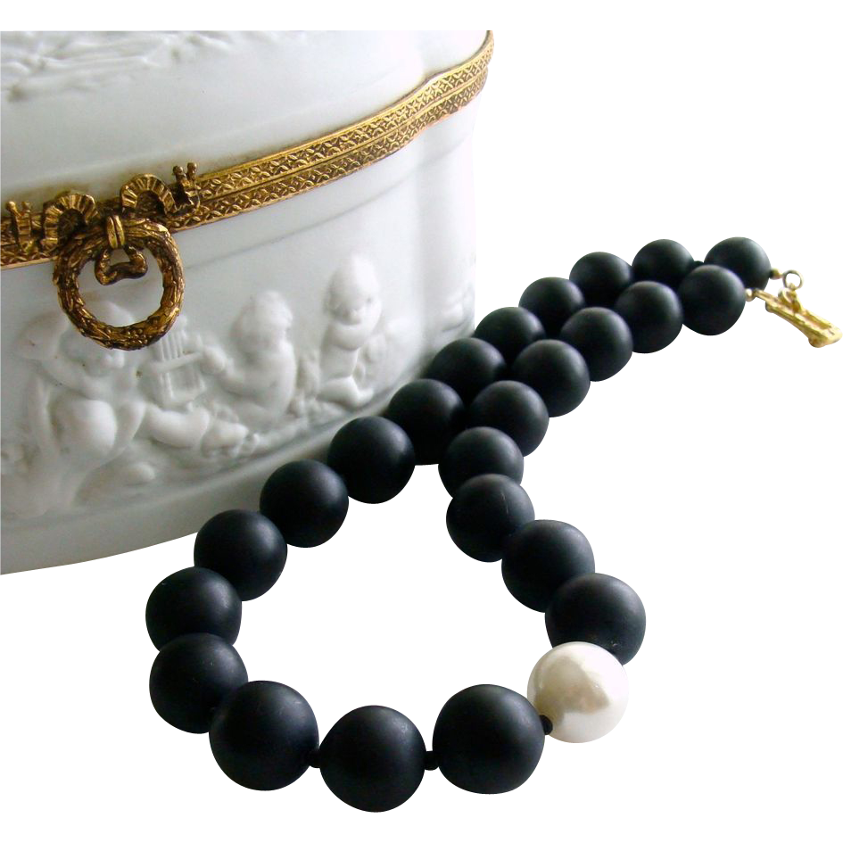 Matt Black Onyx & Simulated Shell Pearl Choker Necklace - Brooke Necklace V