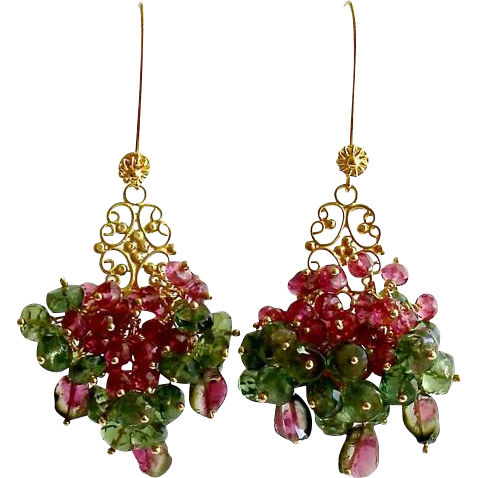 Rubellite Green Apatite Watermelon Tourmaline Cluster Earrings - Caprice Earrings