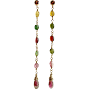 Watermelon Tourmaline Garnet Duster Earrings - Candice Earrings