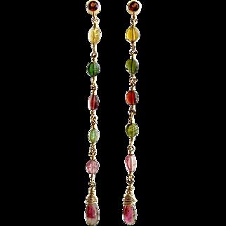 Watermelon Tourmaline Garnet Duster Earrings - Candice Earrings