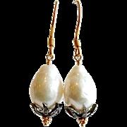 Baroque Flameball Cultured Pearls Diamond Bead Cap Earrings - Chantilly II Earrings