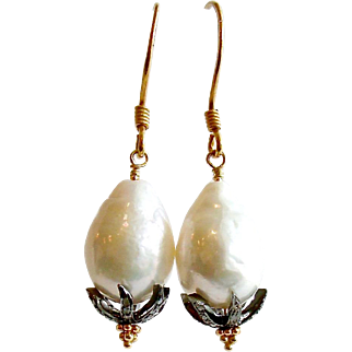 Baroque Flameball Cultured Pearls Diamond Bead Cap Earrings - Chantilly II Earrings