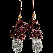 Cultured Pearls Cultured Petal Pearls Garnets Black Spinel Tourmilated Quartz Cluster Earrings - Celosia II Earrings