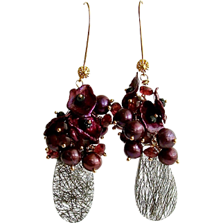Cultured Pearls Cultured Petal Pearls Garnets Black Spinel Tourmilated Quartz Cluster Earrings - Celosia II Earrings