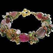 Watermelon Tourmaline Slices Tourmaline Cluster Bracelet - Clarissa III Bracelet