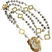 Mystic Labradorite Cultured Pearls Quatrefoils Chalcedony Rose Pendant Necklace - Cateline II Layering Necklace