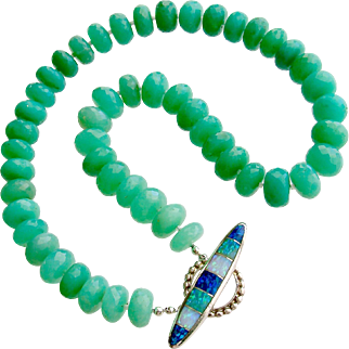 Faceted Chrysoprase Choker Necklace Inlay Opal Toggle - Courtney II Necklace