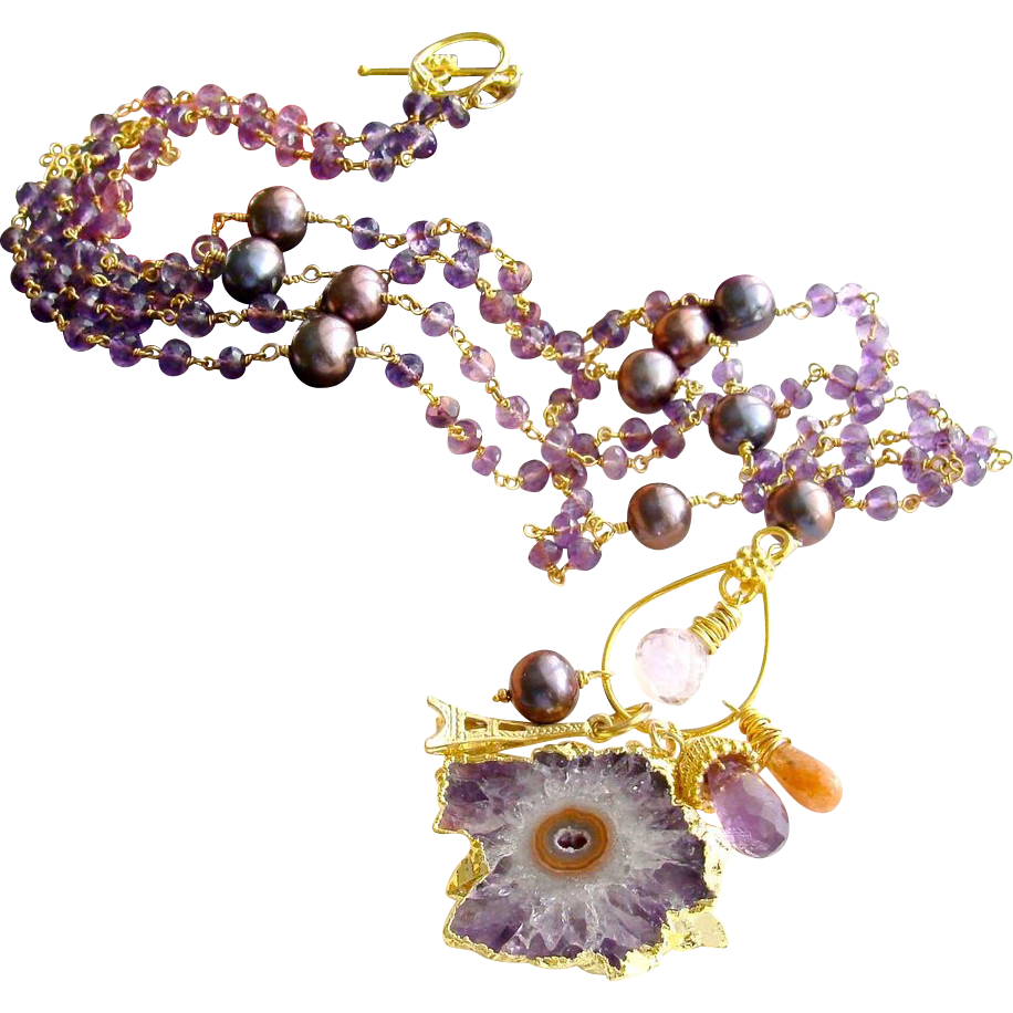 Amethyst Stalactite Necklace - Amethyst Cultured Pearls Prasiolite -  Charmed I'm Sure VI Necklace