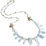 Aquamarine Ice Crystals White Sapphire Necklace - Chione Necklace