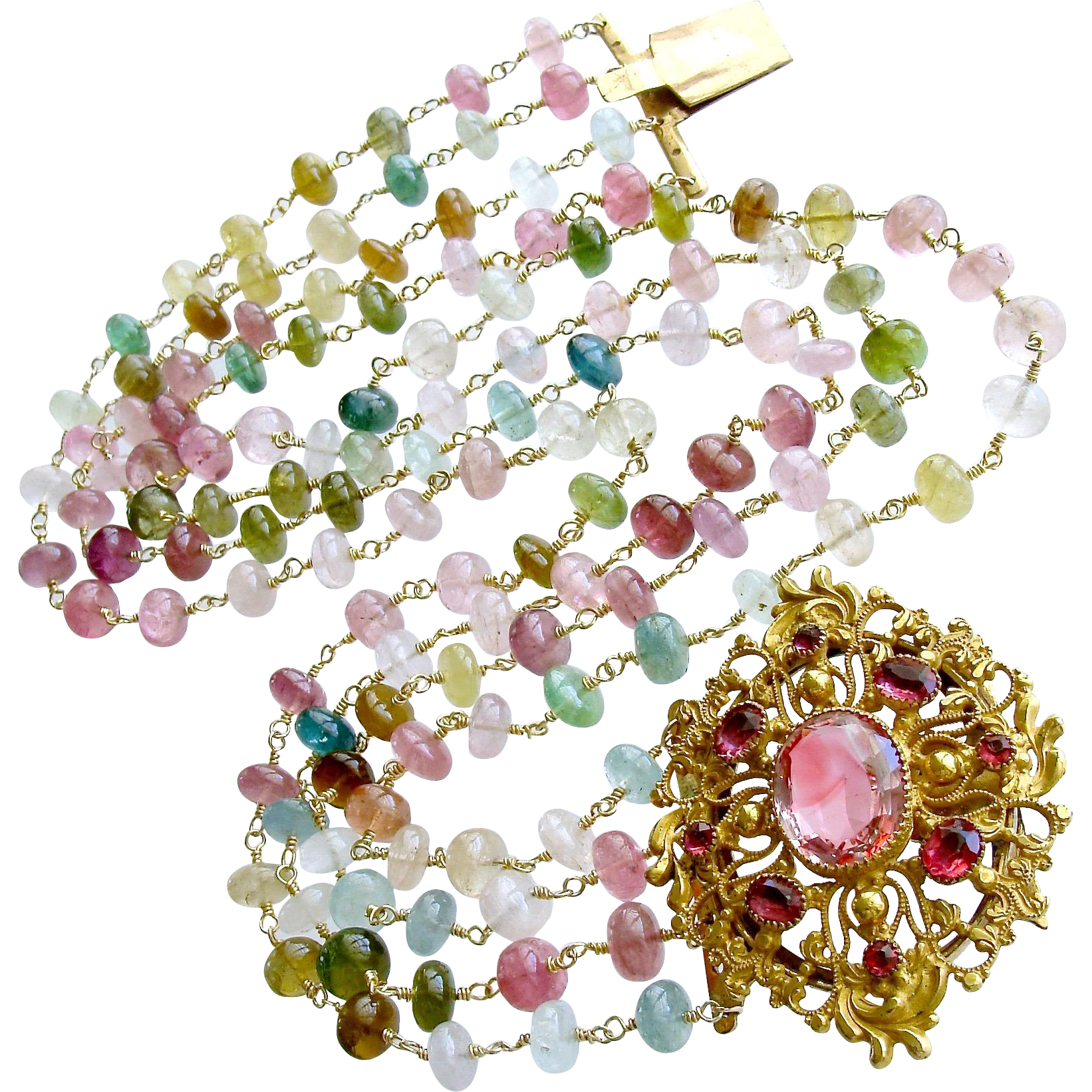 Afghani Tourmaline Pinchbeck Paste Multi Strand Necklace -  Clarissa Necklace