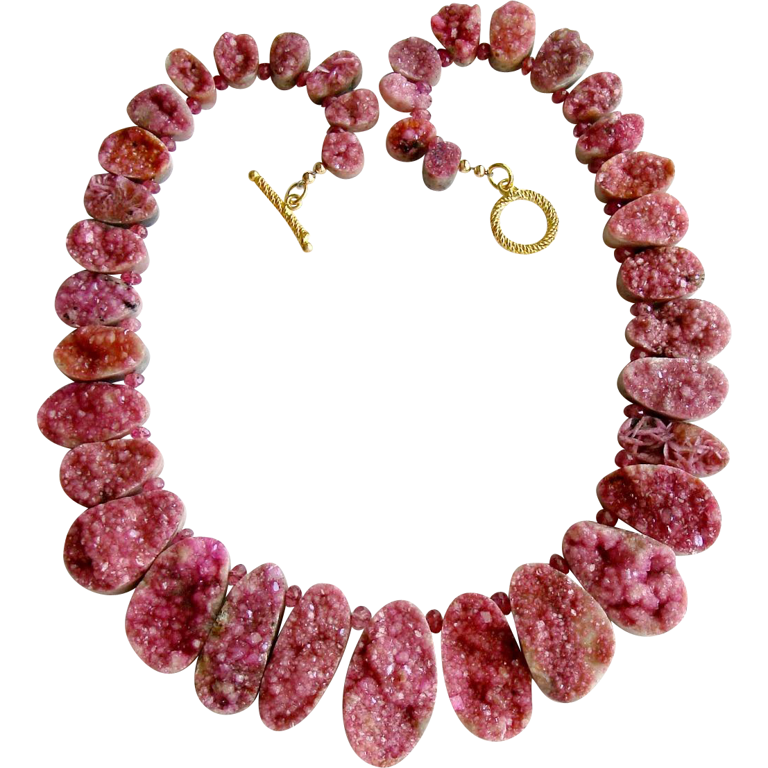 Pink Cobalto Calcite Druzy Necklace - Cherie Necklace