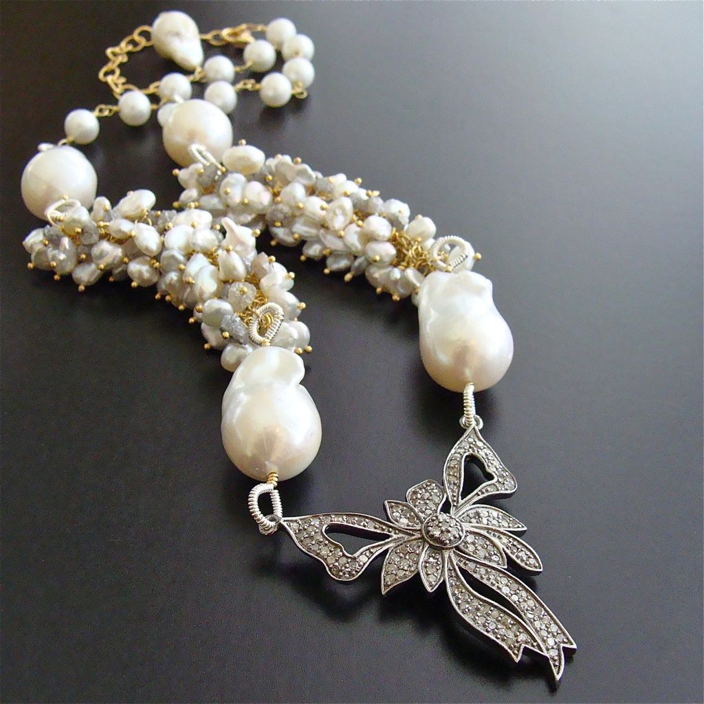 Rhodium Silver Diamond Bow Raw Diamonds Cultured Keshi & Flameball Pearls Necklace - Charmaine Necklace