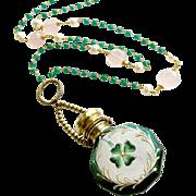 Shamrock Chatelaine Scent Bottle Green Onyx Rose Quartz Necklace - Caitlin Necklace