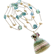 Fluorite Cultured Pearl Double Layering Necklace Set - Celestina Necklace Set