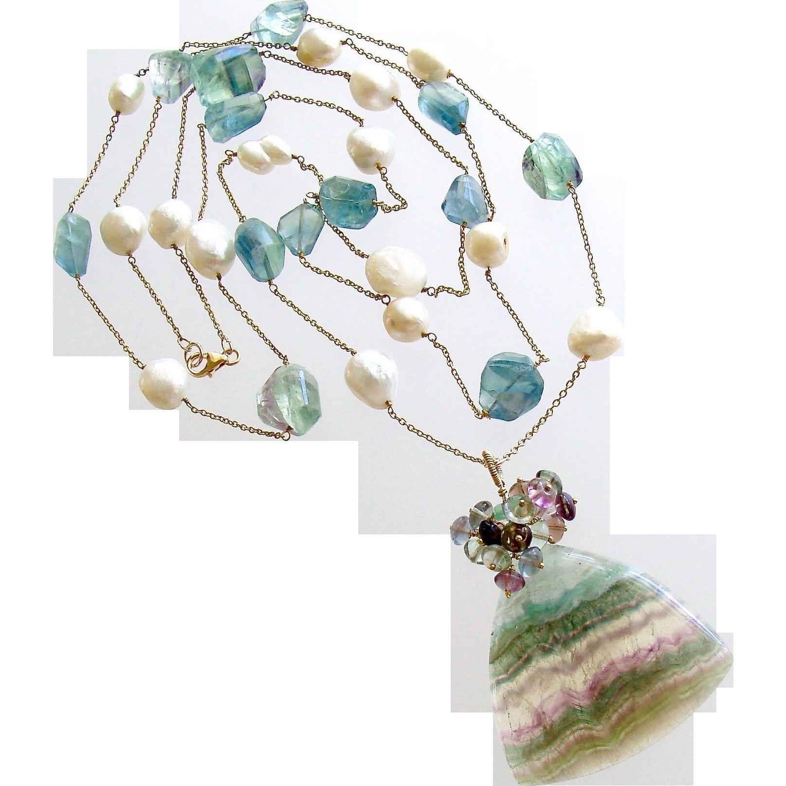 Fluorite Cultured Pearl Double Layering Necklace Set - Celestina Necklace Set