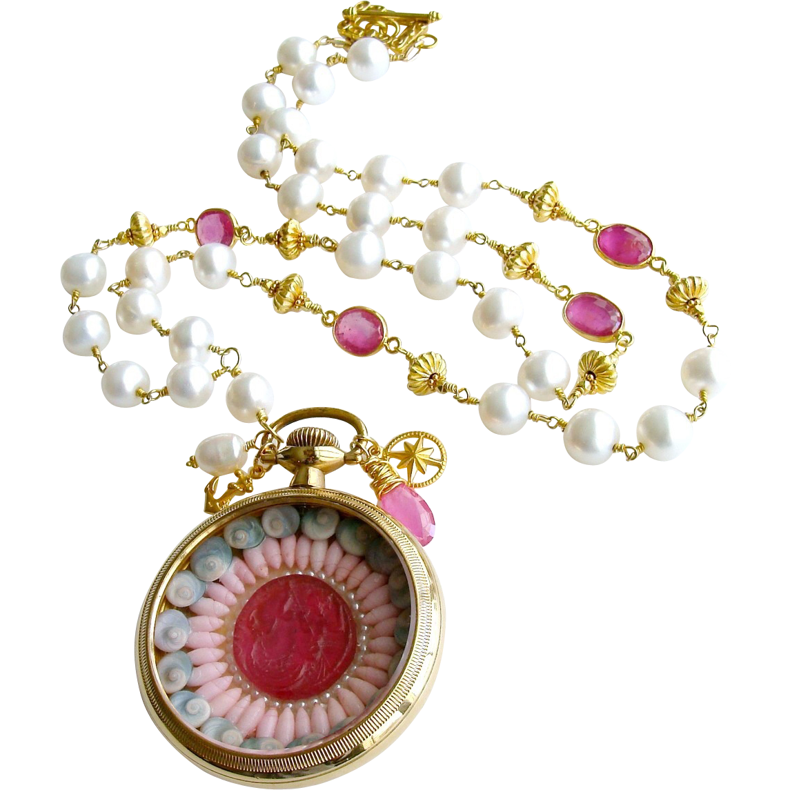Sailor's Valentine Shell Mosaic Intaglio Cameo Pocket Watch Pink Sapphire Baroque Cultured Pearls Necklace - Capraia Sailor's Valentine Necklace