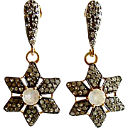 Moonstone Pave Diamond Star Earrings - Dara Earrings