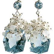 Fancy Cut Blue Topaz Cultured Seed Pearl Moonstone Cluster Earrings - Diana IV Earrings