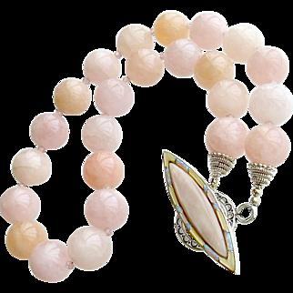 Morganite Beryl Pink Zircon Mother of Pearl Opal Choker Necklace - Dahlia III Necklace