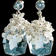 Fancy Cut Blue Topaz Cultured Seed Pearl Moonstone Cluster Earrings - Diana IV Earrings