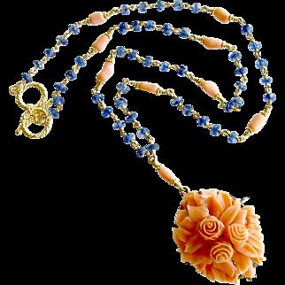 Blue Kyanite 14K Gold Heirloom Carved Coral Necklace - Daphne Necklace