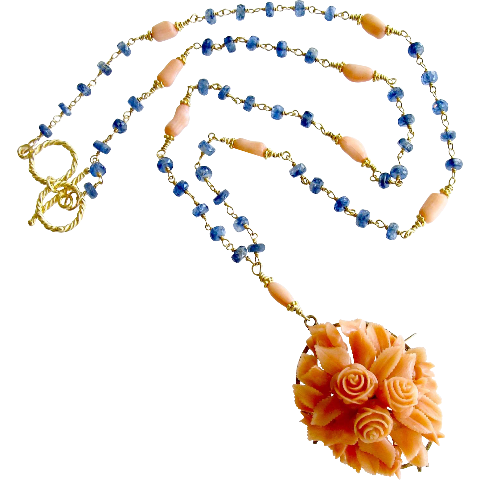 Blue Kyanite 14K Gold Heirloom Carved Coral Necklace - Daphne Necklace