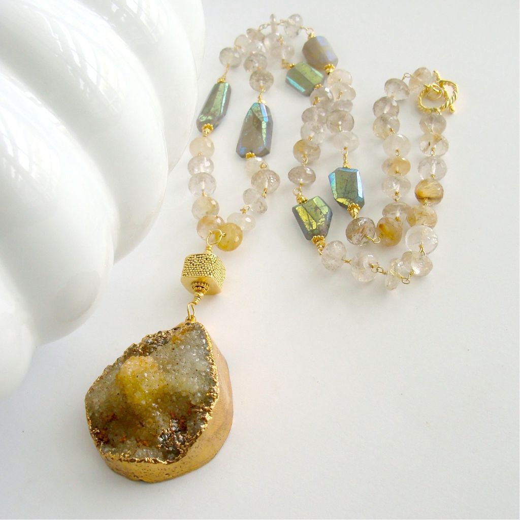 Druzy Quartz Pendant  AB Gray Moonstone Step Faceted Nuggets Rutilated Quartz Necklace - Diandra Necklace