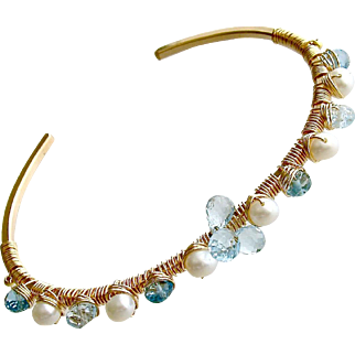 Blue Topaz Cultured Pearls Hand Wrapped Cuff Bracelet - Diana Stacking Bracelet