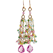 Pink Topaz Tassel Earrings Emerald Blue Topaz Yellow Zircon - Delphine Tassel Earrings