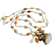 Multicolored Moonstone Necklace Heirloom Gilt White Agate Fob - Elise IV Necklace