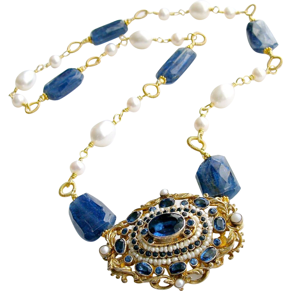 Filigree Paste Brooch Kyanite Nuggets Cultured Freshwater Pearls Necklace -  Eliza Necklace