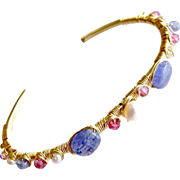 Tanzanite Pink Topaz Cultured Pearls Hand Wrapped Cuff Bracelet - Emeline Stacking Bracelet