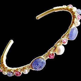 Tanzanite Pink Topaz Cultured Pearls Hand Wrapped Cuff Bracelet - Emeline Stacking Bracelet