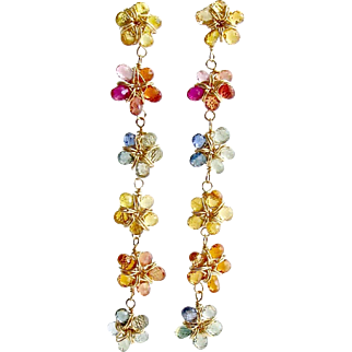 Multi Sapphire Flower Earrings - Florette Earrings