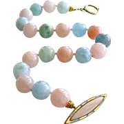 Beryl Aquamarine Morganite Choker Necklace Opal MOP Toggle Clasp - Fontanne III Necklace
