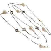 Baroque Flameball Cultured Pearls Pave Quatrefoil Stations Long Necklace - Felice Necklace