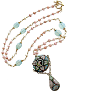 Peruvian Pink Opal Aqua Chalcedony Micro Mosaic Necklace - Floriana Necklace