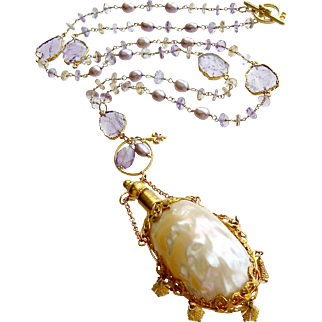 Ametrine Amethyst Slices Chatelaine Shell Scent Bottle Necklace - Guinevere III Necklace