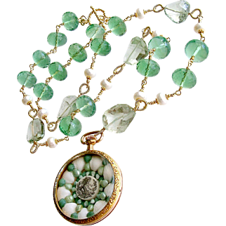 Sailors Valentine Necklace Green Fluorite Prasiolite - Genovesa Sailors Valentine Necklace