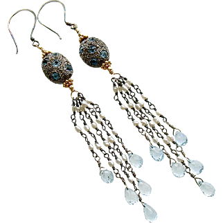 Diamond Cultured Pearls Blue Topaz Duster Tassel Earrings - Harmonie Earrings