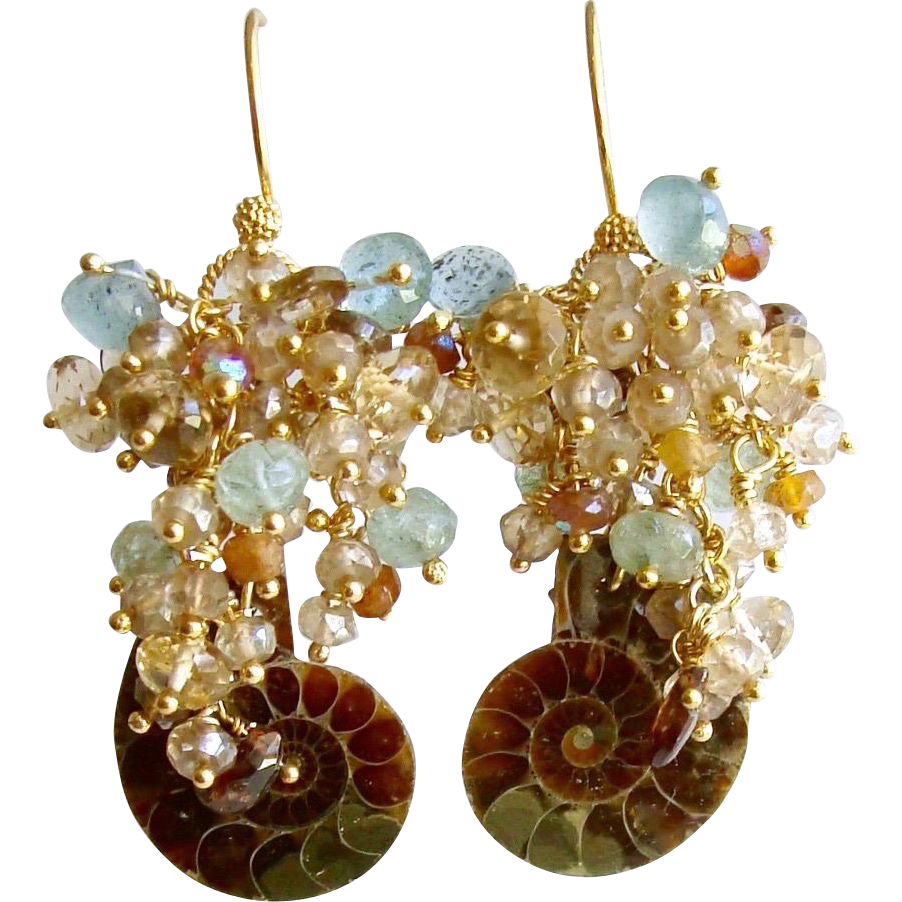 Ammonite Earrings Moss Aquamarine Citrine Topaz Zircon Hessonite Clusters - Irielle IV Earrings