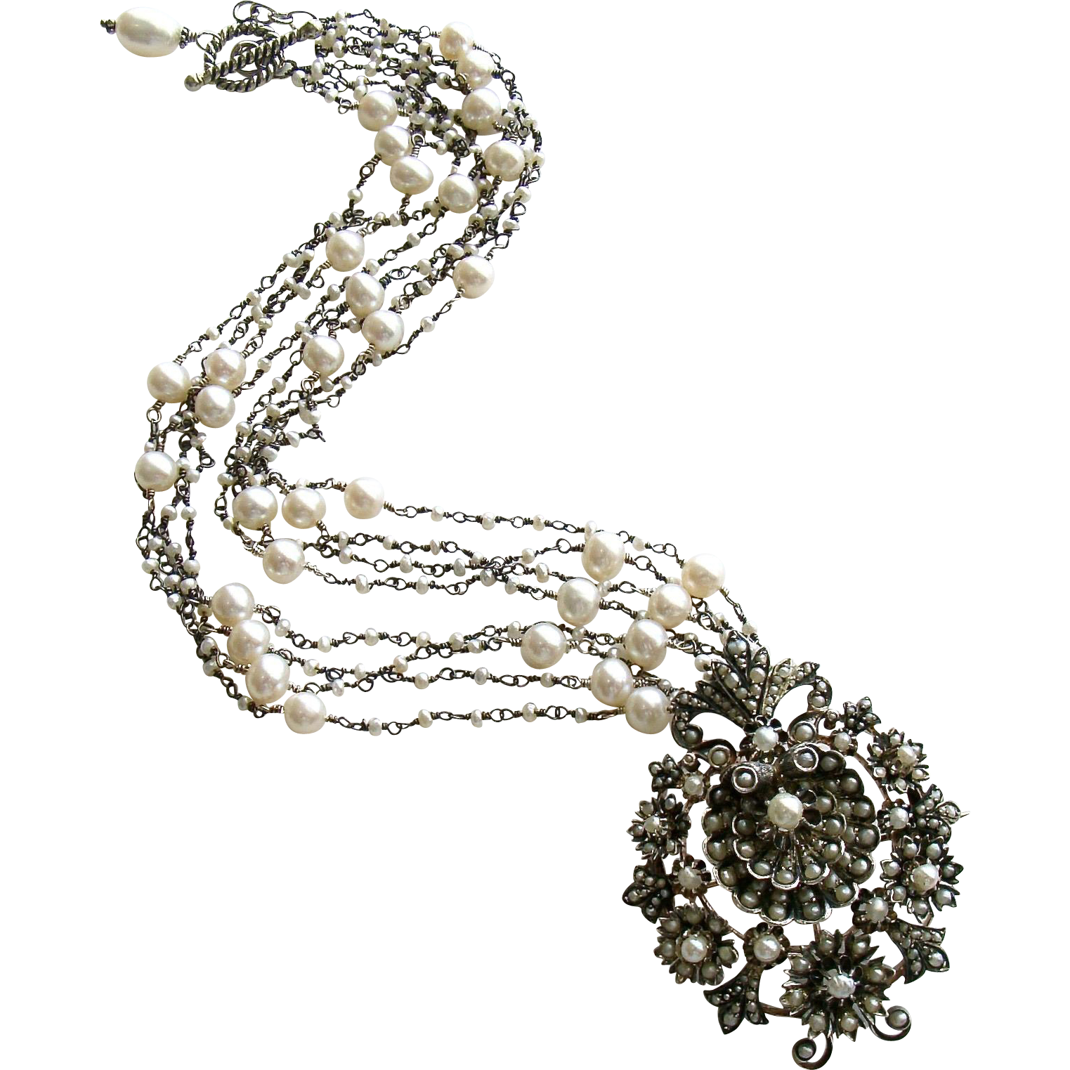 Austro Hungarian Cultured Natural Seed Pearl Shell Necklace - Ianessa Necklace