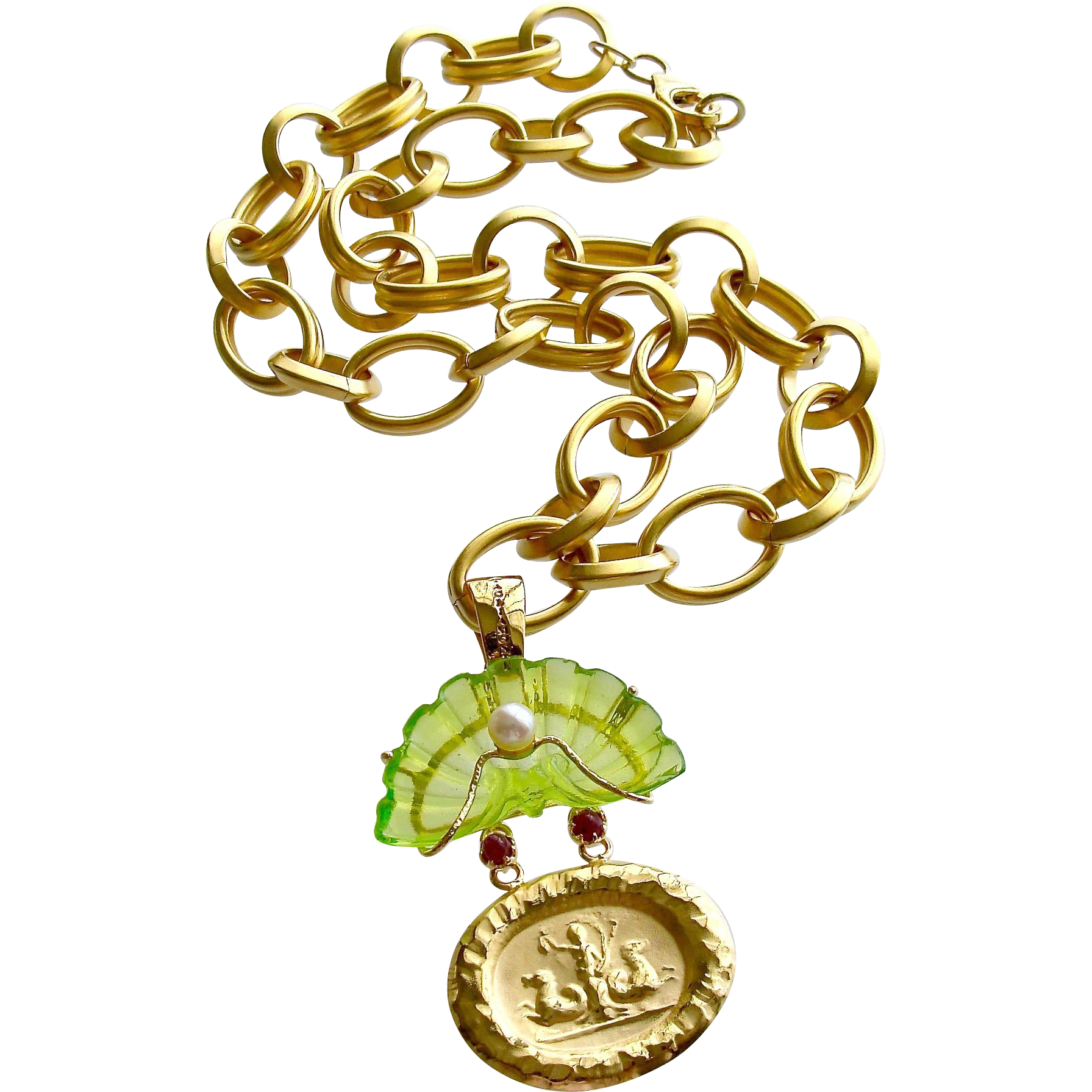 Intaglio Peridot Green Venetian Glass Shell Rubies Cultured Pearls Pendant Necklace - Irvina Necklace